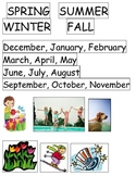 Science Season cut paste sort foldable Kindergarten snow winter center ESL