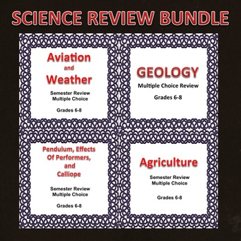 Science Semester Review Bundle 6, 7, 8, Editable