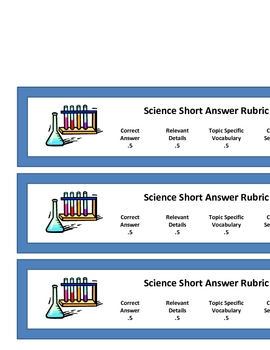 Science Short Answer Rubric