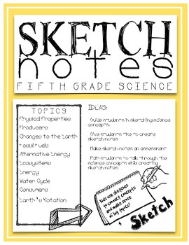 Science Sketch Notes - fifth grade - TEST REVIEW