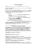 Science Skills Notes (accompanies PowerPoint)
