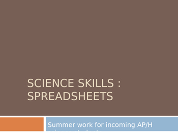 Science Skills - Using Spreadsheets for tables, graphs and calculations