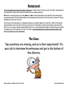 Science Sleuth: Make a Note of It