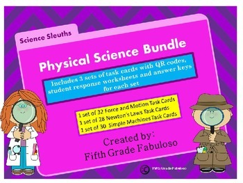 Science Sleuths Physical Science Task Card Bundle **WITH QR CODES**