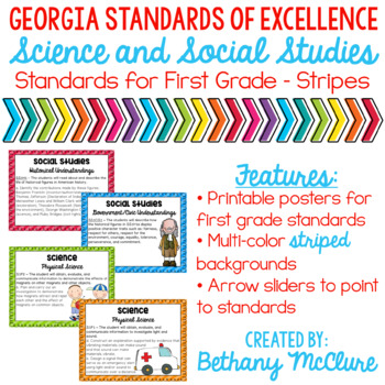 GA Standards of Excellence Social Studies Science Posters 1st Grade Stripes