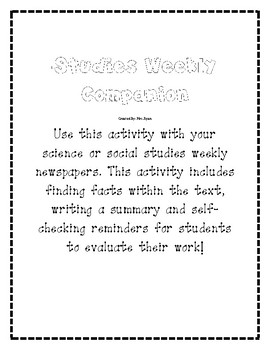 Science/Social Studies Weekly Companion Activity