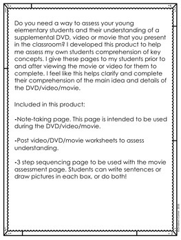 Video DVD and Movie Assessments Forms Activities Worksheets Printables