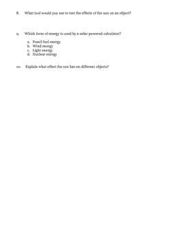 Science: Solar Energy Assessment/Test/Quiz