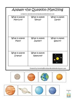 Science Solar System Answer the Question preschool homeschool game.