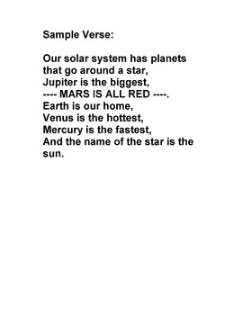 "Science Song: ""The Planets of the Solar System"" to tune ""1"