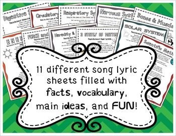 Science Song Lyrics (Human Body Systems, Force and Motion, Matter, and more!)