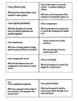 Science Sound Vocabulary Activity Elementary Grade 5