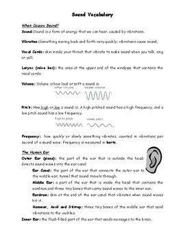 Science - Sound Vocabulary List