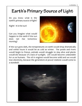 Light Sources - Science Lessons and Notebooking Pages