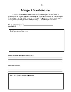 Science Space Constellations Hands on Activity and Worksheet