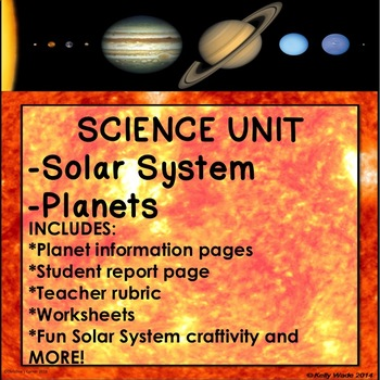 Science Space Solar System Unit report worksheets craftivity rubric 1st 2nd 3rd