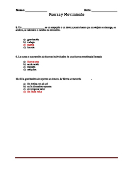 Science Spanish Force and Motion Quiz