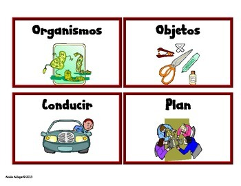 Science Spanish Vocabulary Cards for Pre-K and Kinder