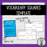 Science Speak - Vocab Square Template - Digital & In-Person
