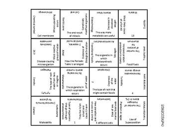 Science Spiral Review Square Tarsia Puzzle