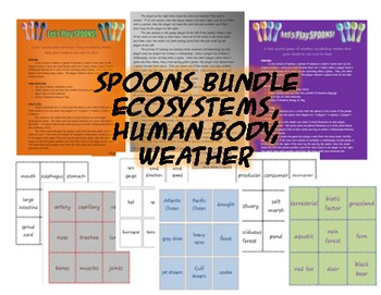 Science Spoons Game Bundle - Weather, Ecosystems, and Human Body