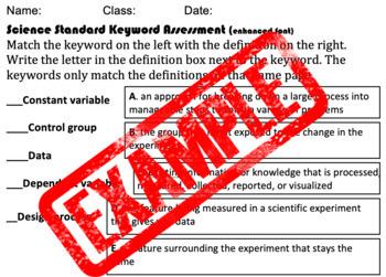 Science Standard Keyword Assessment/Quiz-Enhanced Font (504/IEP friendly)