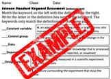 Science Standard Keyword Assessment/Quiz-Enhanced Font (50