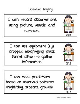 Science Standards First Grade