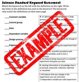 Science Standards Keyword Assessment/Quiz