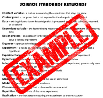 Science Standards Keywords