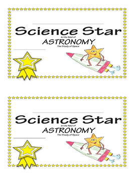 Science Star Certificates - Astronomy