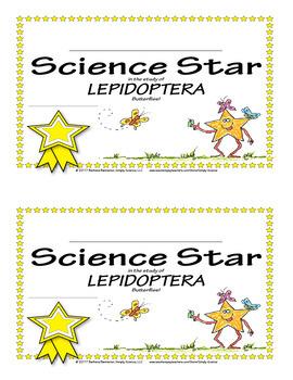 Science Star Certificates - Butterflies