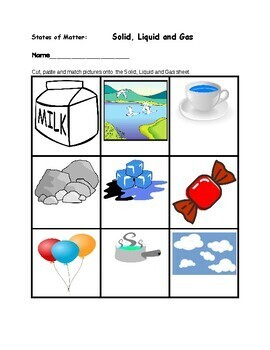 """Science:  Sort """"States of Matter""""  Solid, Liquid & Gas"""