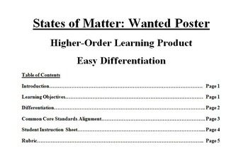 Science: States of Matter Wanted Poster--Differentiation, Higher-Order Thinking!