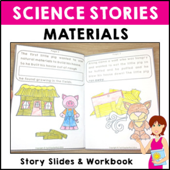 STEM Science Vocabulary Story 'Little Pigs material story' slides and activity