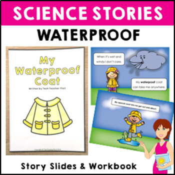 STEM Science Vocabulary Story 'My waterproof coat' slides and activity