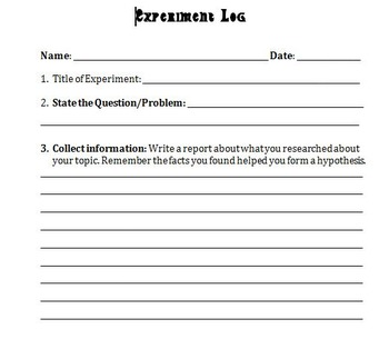 Science Student Experiment Log