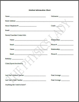 Science Student Information Sheet