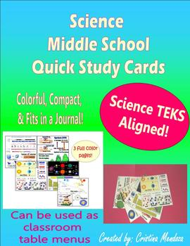 Science Study Cards aligned to Middle School