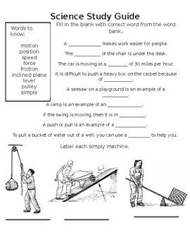 Science Study Guide - Forces & Simple Machines