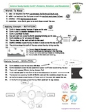 Science Study Guide and Test Combo: Earth's Patterns, Rotation, and Revolution