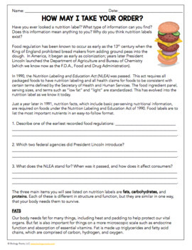 Science Sub Plan: Proteins, Carbs, and Fats