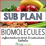 Science Sub Plan - Science Literacy - Nutrition Labels and