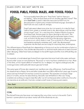 Science Literacy Sub Plan - Fossil Fuels