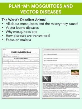 Science Sub Plan -Science Literacy Sub Plan-Vector Diseases and Malaria