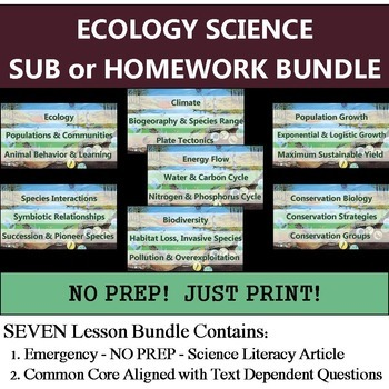Ecology Homework Bundle - Science Sub Lessons - Common Core Aligned