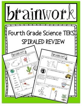 Science SPIRALED Homework or Warm -UP -  4th Grade - Texas TEKS