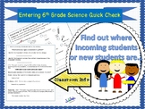 Science Quick Check + Back to School + Middle School