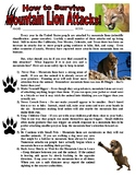 Science of Survival - Mountain Lion Attack! (animal article / question sheet)