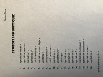 Science Symbols and Units Quiz (Key)